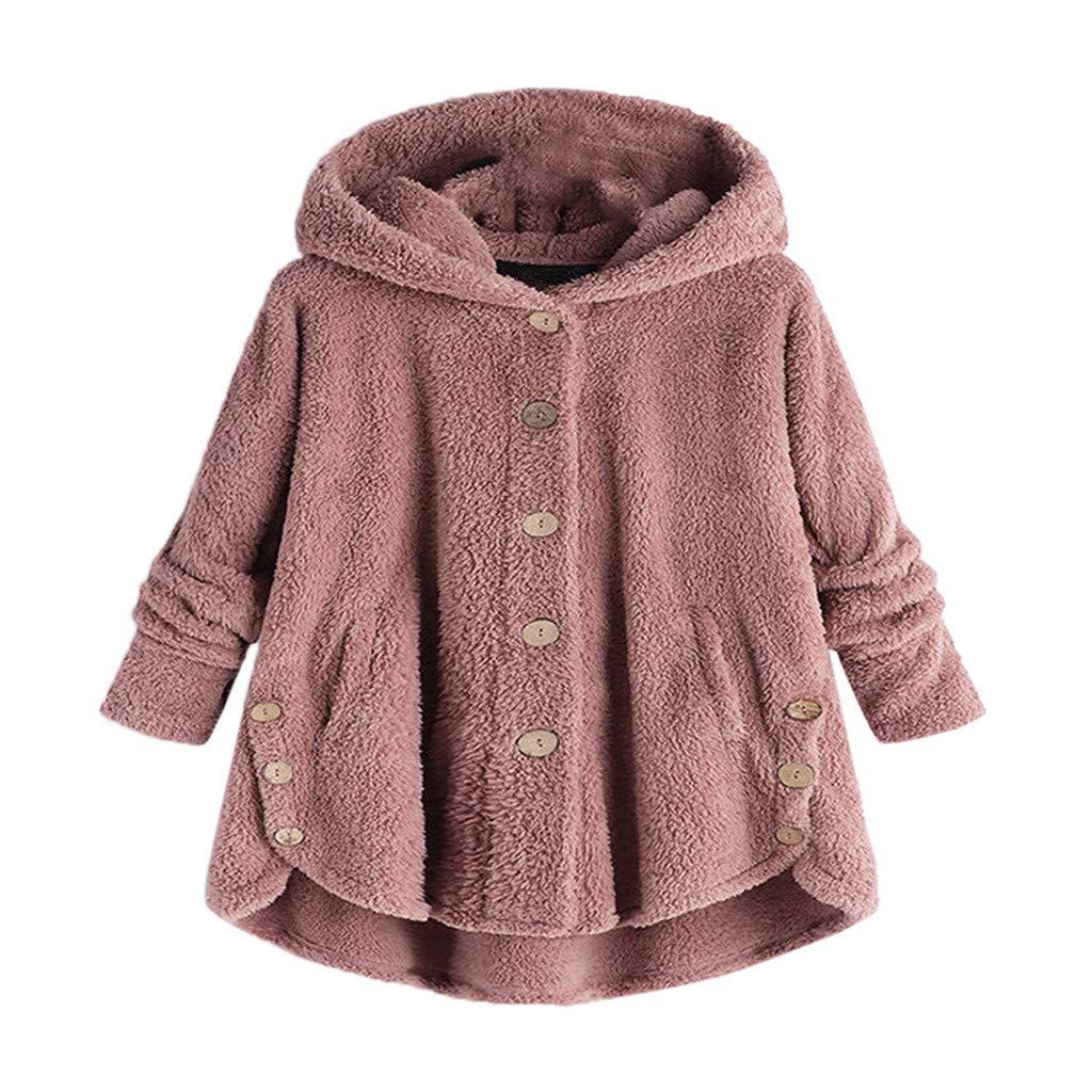 Women Teen Girls Button Coat Casual Loose Fleece Fluffy Hooded Tops Jacket Outwear(Pink,L)