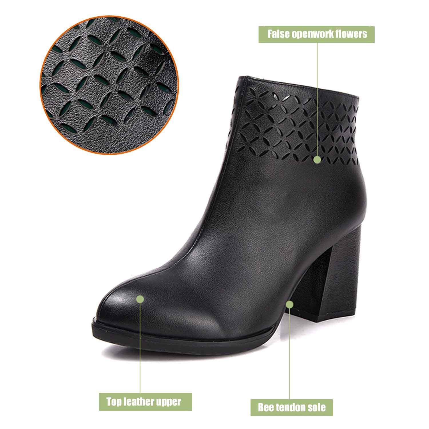 - Women's Block Thick high Heels Chelsea Ankle Boots Clip Soles Office shoes