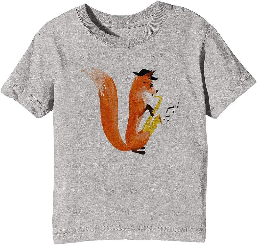 Erido Llamativo Zorro Niños Unisexo Niño Niña Camiseta Cuello Redondo Gris Manga Corta Tamaño XL Kids Boys Girls Grey X-Large Size XL: Amazon.es: Ropa y accesorios