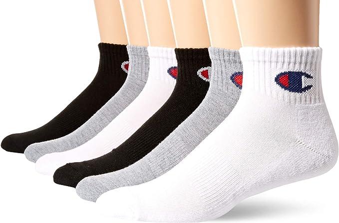Champion Men's Double Dry Moisture Wicking Logo 6-Pack Ankle Socks