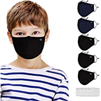 5pcs Kids Cotton Face Covering Set Washable and Reusable Cute Pattern Cloth Comfort Dust Cover for teen Unisex Boys…