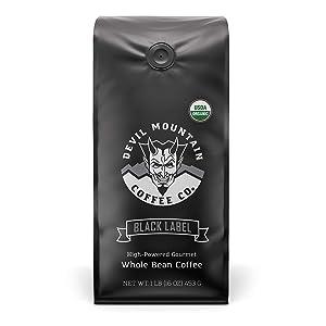"""Black Label"" Dark Roast Whole Bean Coffee, The World's Strongest Coffee, Lab Tested at 1,555 ml Caffeine Per 12 Ounces, USDA Certified Organic (16 Oz)"
