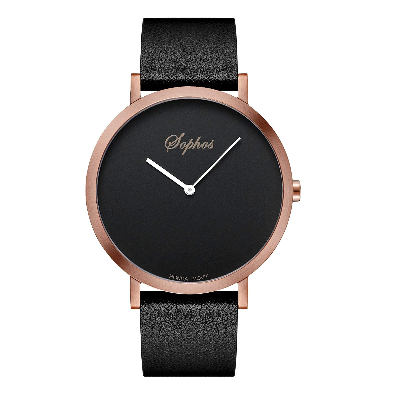 Sophos Collection Watches 42mm, Unisex Minimalist Waterproof Wrist Watch Analogue Quartz Adults Watch with Genuine Leather Watch Strap