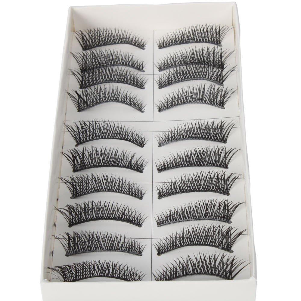 10 Pairs Black Long Thick Cross Style Reusable False Eyelashes Fake Eye Lash for Makeup Cosmetic by Nails gaga