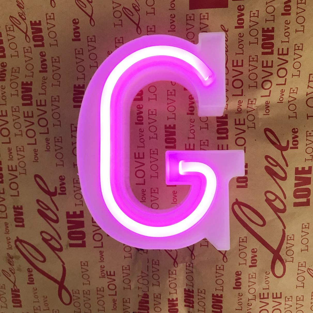 QiaoFei Light Up Marquee Letters Lights Letters Neon Signs, Pink Wall Decor/Table Decor for Home Bar Christmas, Birthday Party, Valentine's Day Words-Pink Letters (G)