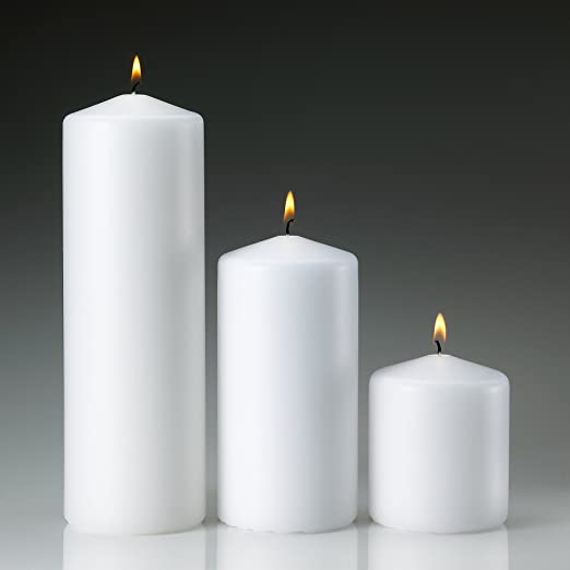 Christmas Tablescape Decor - White Pillar Candles Made in USA Set of 3