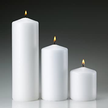 White Pillar Candle Variety Set   3 Unscented Pillar Candles   Set Includes  3u0026quot;,