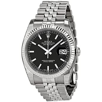 7038e94342e Image Unavailable. Image not available for. Color: Rolex Mens New Style  Heavy Band Stainless Steel Datejust Model 116234 Jubilee Band 18K White Gold