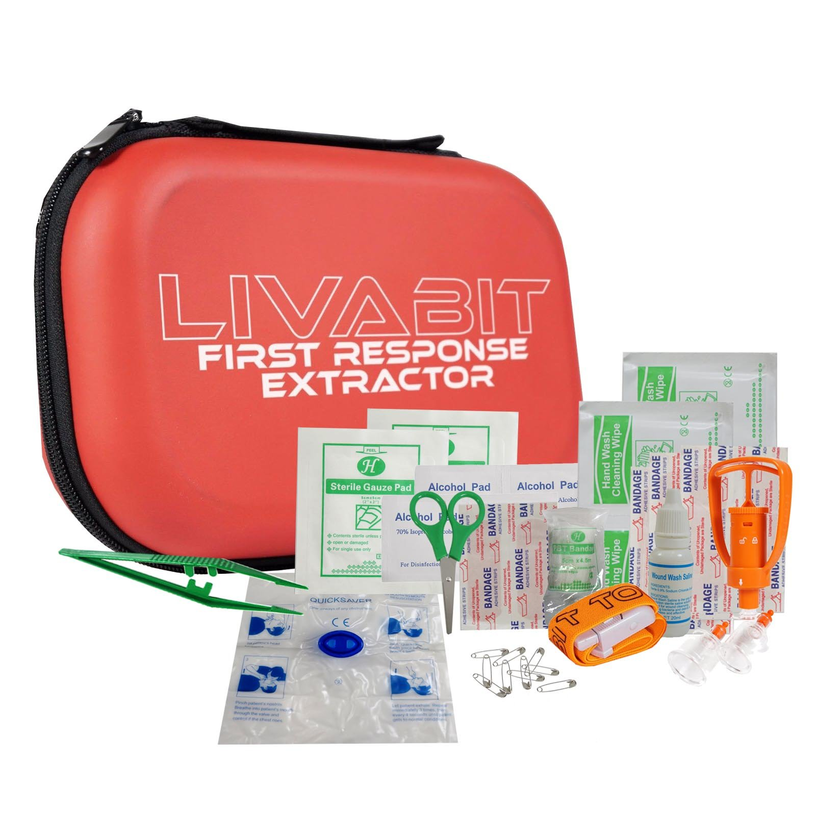 LIVABIT First Response Extractor Venom Poison Bite Extraction Pump Portable Hiking Outdoor First Aid CPR Safety Tool Kit