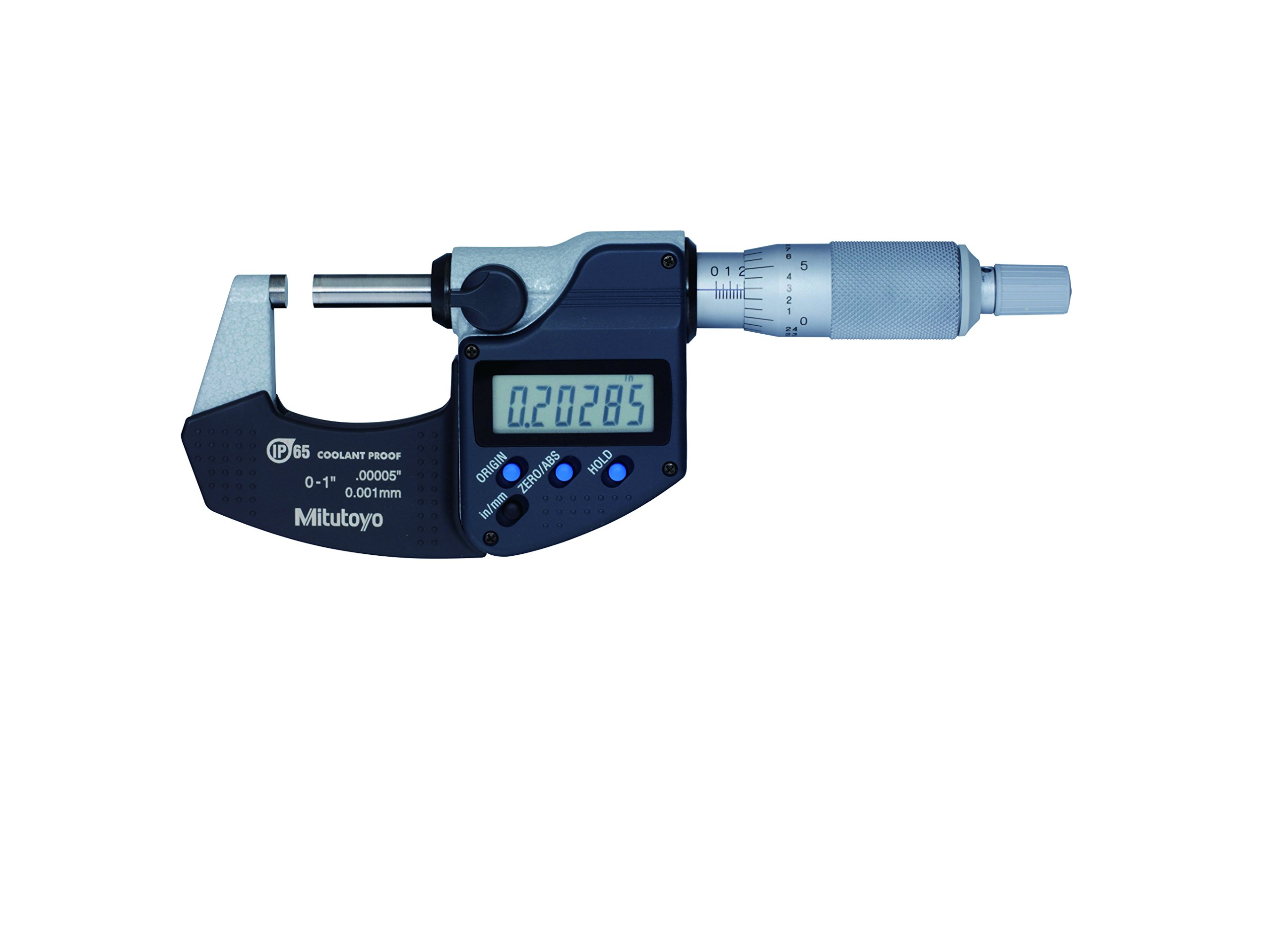 Mitutoyo 293-340-30 Digital Micrometer, Inch/Metric, Ratchet Thimble, 0-1'' (0-25mm) Range, 0.00005'' (0.001mm) Resolution, +/-0.00005'' Accuracy, Meets IP65 Specifications by Mitutoyo