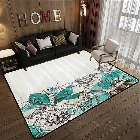 Amazon.com: Kids Floor mats,Turquoise Decor, Retro Floral ...