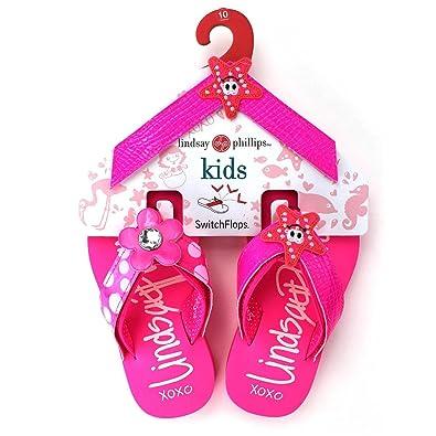 2626bb095 Lindsay Phillips Switchflops Kid s Girls Interchangeable Velcro Top Mackenzie  Flip Flop Bundle - Size 1 Pink