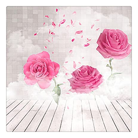 Photography Backdrop 8x8 White Wood Floor Big Pink Flowers Backgrounds For Wedding Mothers Day Photocall