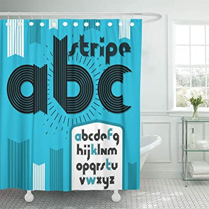 Emvency Shower Curtain Modern Lowercase Alphabet Letters ABC Funky Bold For Use Curtains Sets With