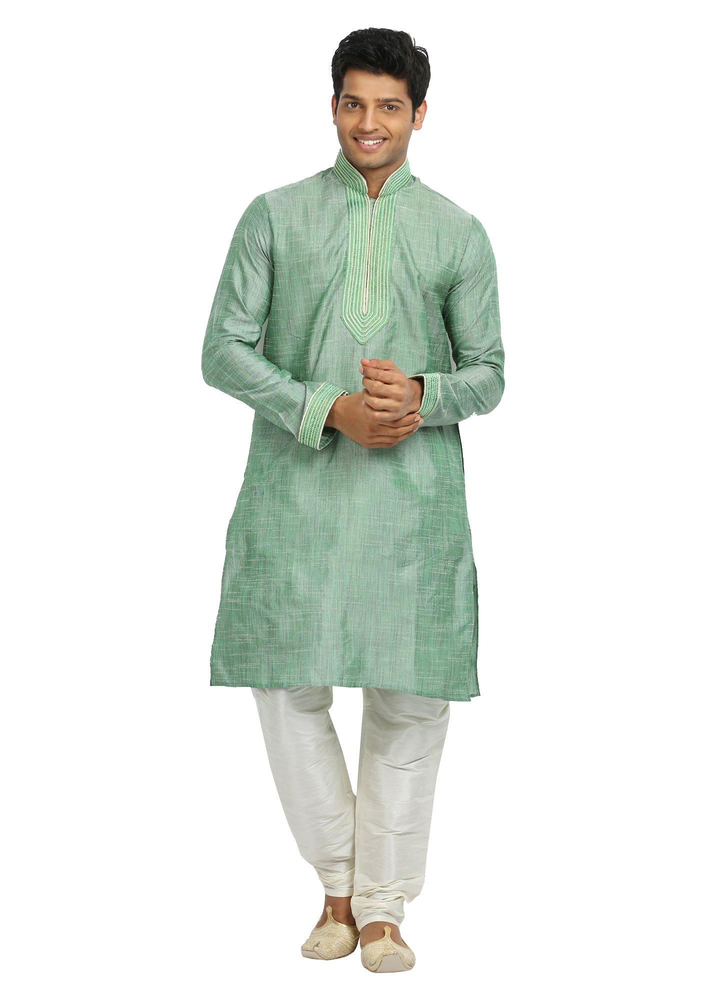 Saris and Things Aquamarine Cotton Linen Indian Wedding Kurta Pajama for Men