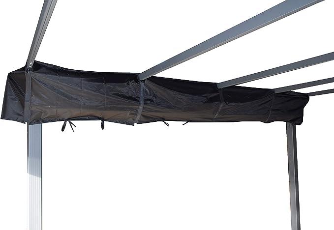 Jet-line Pérgola Luxor 4 x 3 m, antracita/beige, protección UV, para terraza, jardín, protección solar, techo solar de aluminio