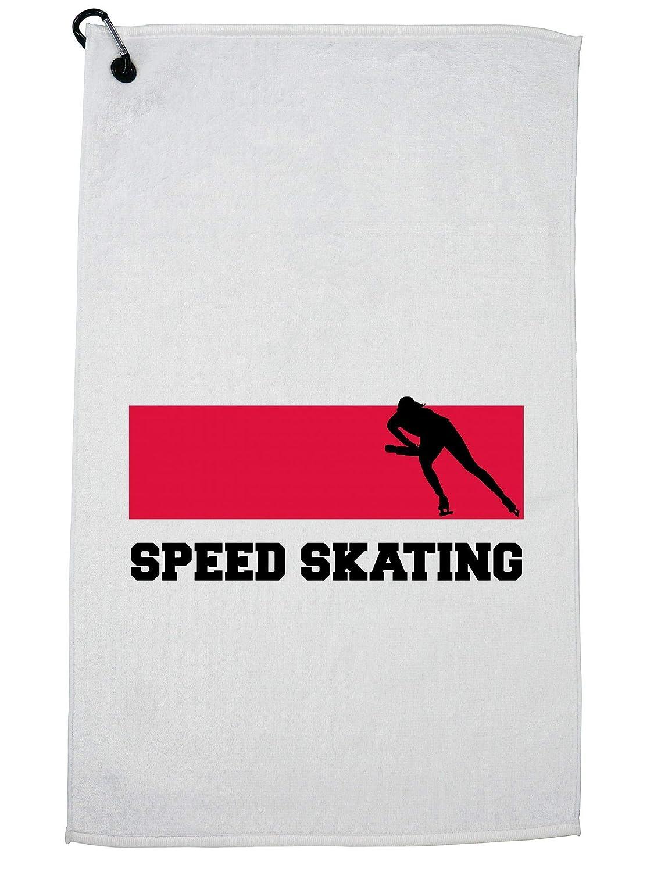 Hollywood Thread Polish オリンピックスピードスケート フラッグ シルエット ゴルフタオル カラビナクリップ   B07GBLDZWT