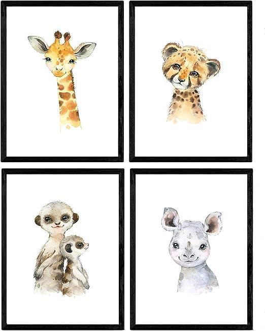 Pack de Cuatro láminas con Ilustraciones de Animales. Posters con ...