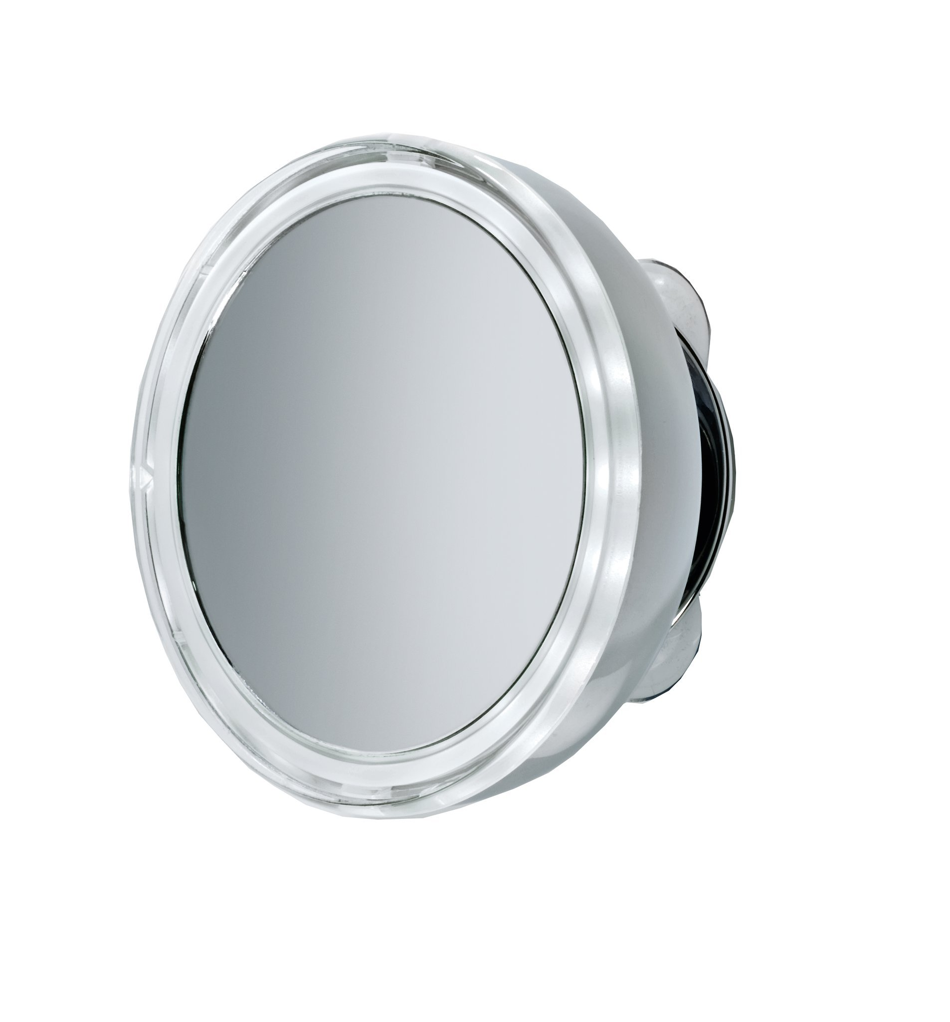 DWBA 5'' Round Suction cup 5x Cosmetic Makeup Magnifying LED light Mirror, Chrome