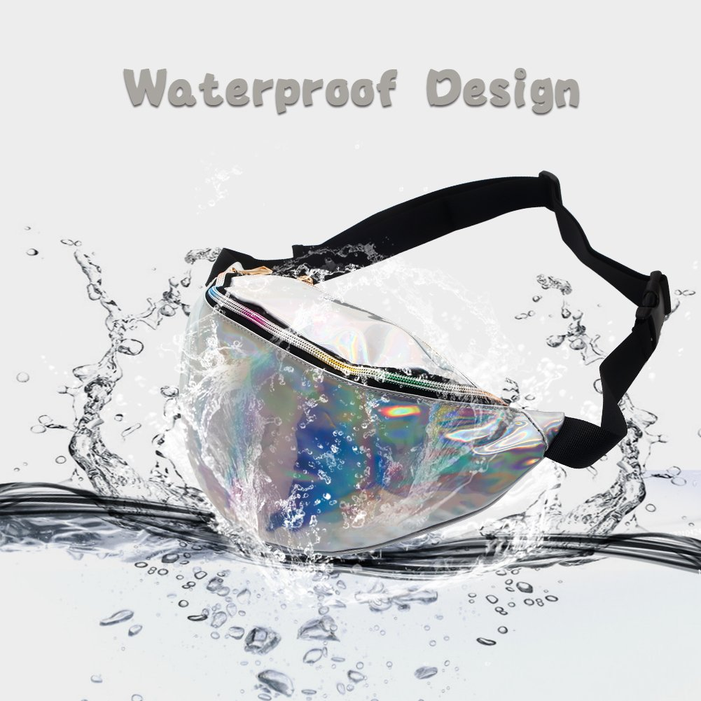 Mounchain Waist Packs Shiny Laser Holographic Fanny Pack for Women with Adjustable Waistband-Smartphone Money Coins Keys Passport Holder