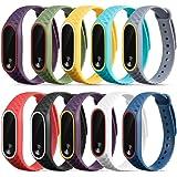 Longtis 10 Unids correa de reloj pulsera de pulsera de silicona reloj de repuesto para Xiaomi Mi Band 2
