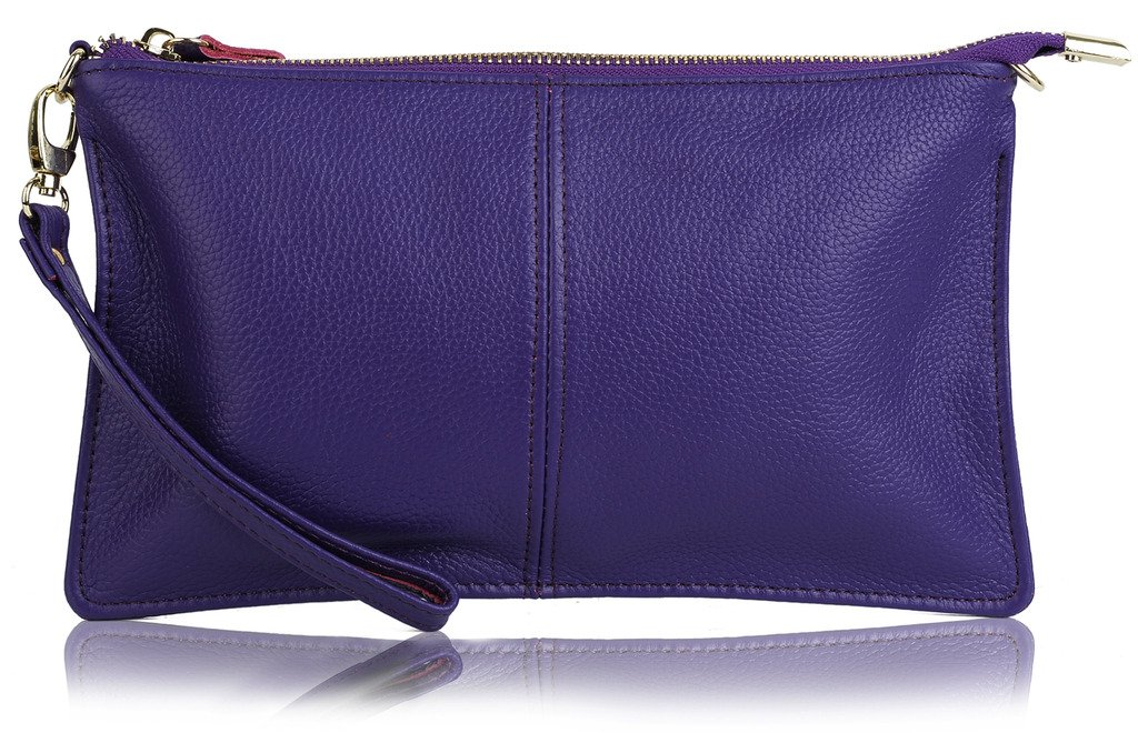 YALUXE Women's Real Leather Large Wristlet Phone Clutch Wallet with Shoulder Chain Purple