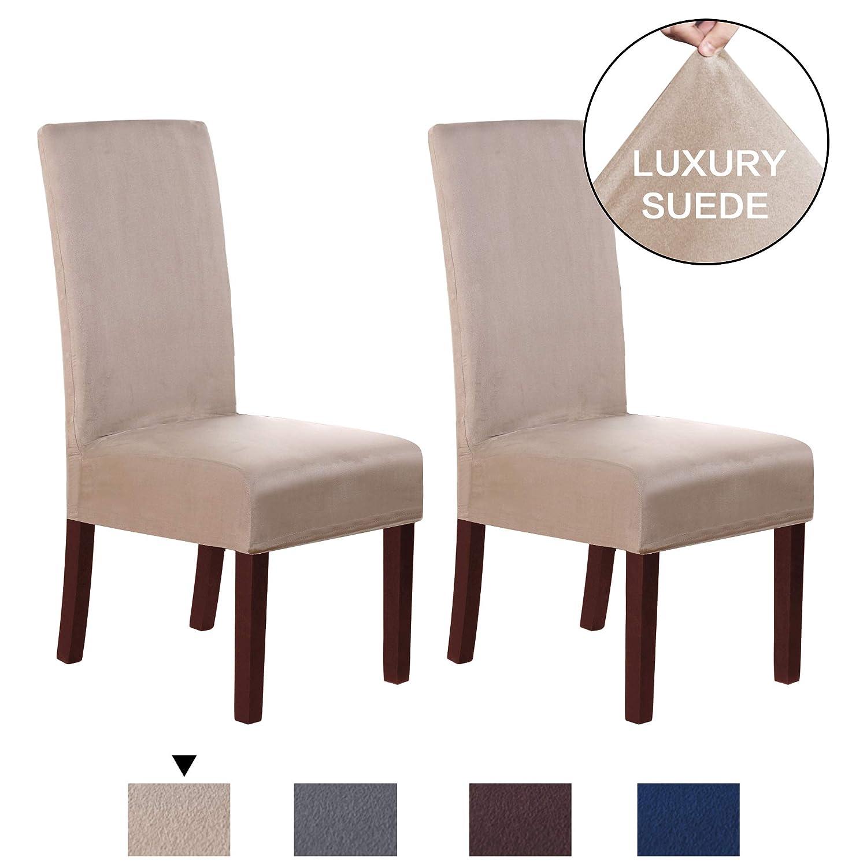 H.VERSAILTEX ソフトスパンデックス 1ピース スエード ベルベット プラッシュ ソファ スリップカバー 家具カバー/プロテクター 滑り止め 洗濯機洗い可 Dining Chair | 2 Pack ベージュ P2HVDININGSAND Dining Chair | 2 Pack サンド (Sand) B07N4KDKVR