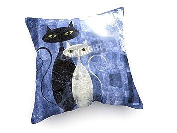 weewado Gato Blanco y Negro - 30x30 cm - Cojines del sofá - Arte, Imagen, Pintura, Foto - Animals: Amazon.es: Hogar