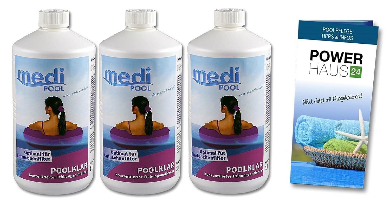 Medipool 3 x 909601MP PoolKlar - 3 Liter - macht den Pool superklar - mit Powerhaus24 Pflegefibel!