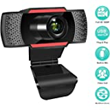 1080P HD Webcam with Microphone, Streaming Computer Web Camera for USB Laptop/Desktop/TV, USB PC Cam for Video Calling/Conferencing