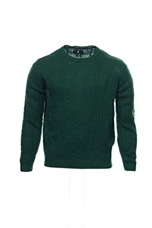 Argyleculture By Russell Simmons Mens Green Cable Knit Crew Neck