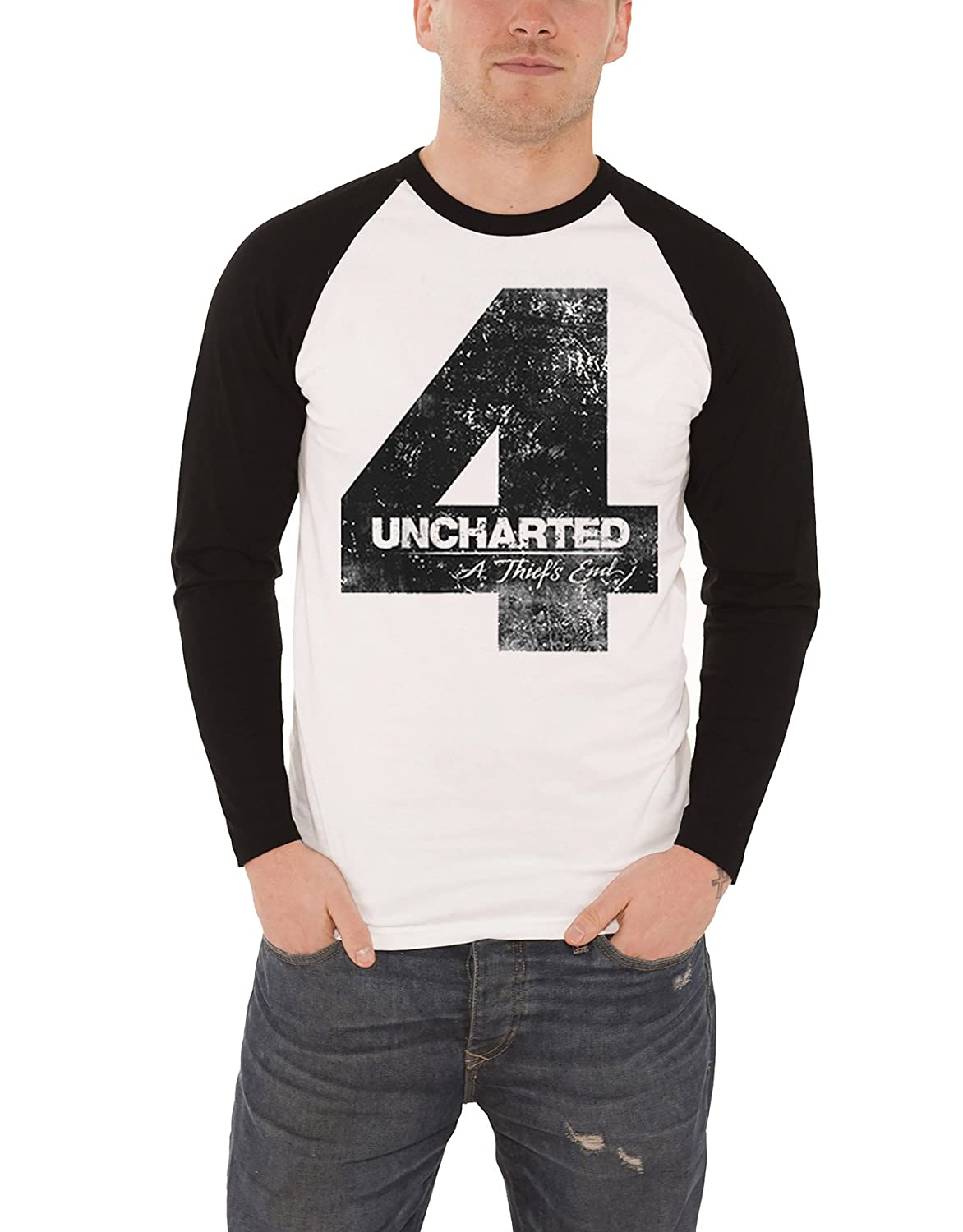 Uncharted 4 Shirt Baseball Distressed Logo Ufficiale Uomo Nuovo Bianca Long