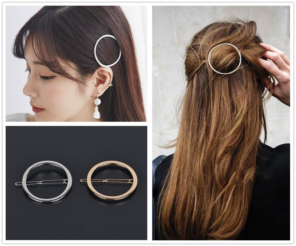 6pcs Gold Silver Geometric Hair Clip Hairpin Clamps Barrette Bobby Pin Styling Accessories, Hollow Infinity Triangle Round Oval Moon (6 Pcs) Hahaby