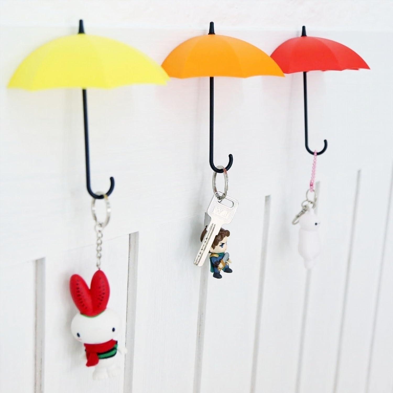 GONO 3x Lovely Paraguas Colorido de Montaje en Pared Gancho de la Percha de Pared Titular de la Clave Organizador Color al Azar, Polipropileno, Random, Talla única
