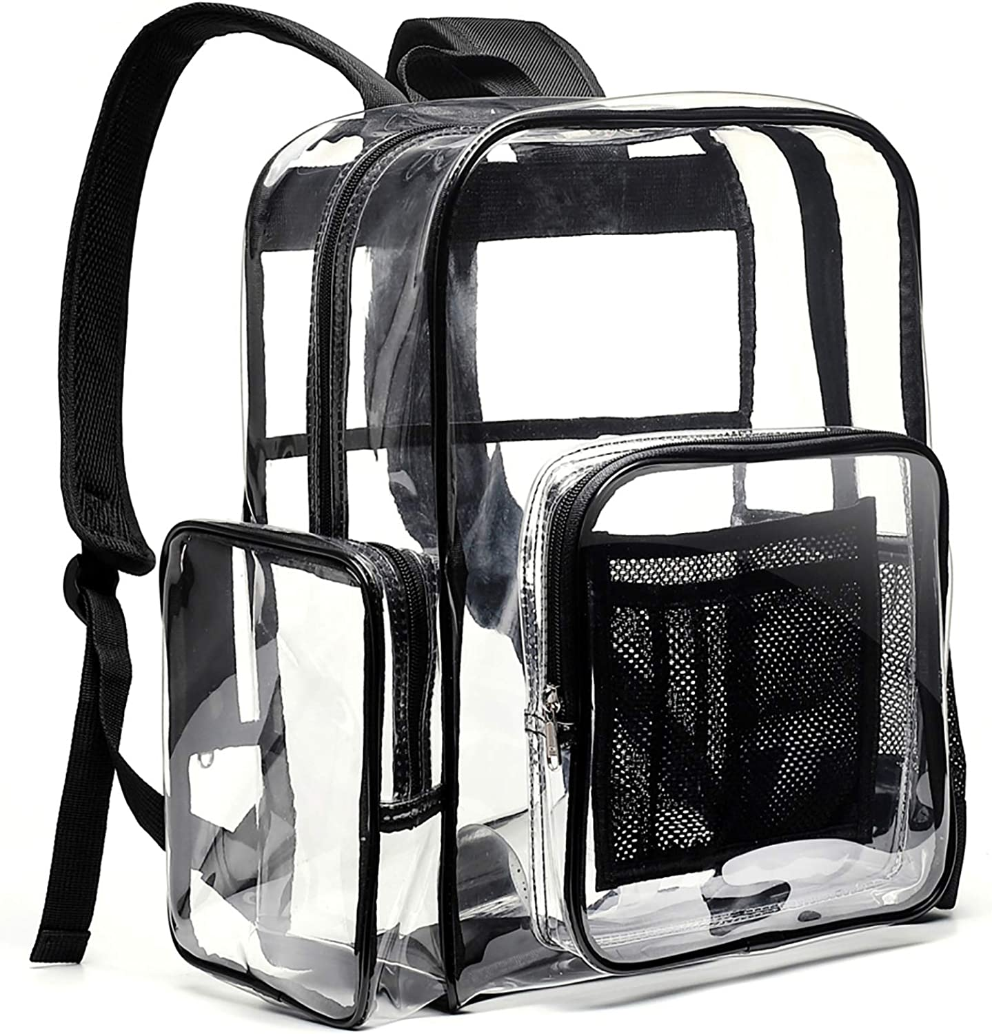 Clear Backpack, Ace Teah Heavy Duty Backpacks, Transparent Backpack for School, Black