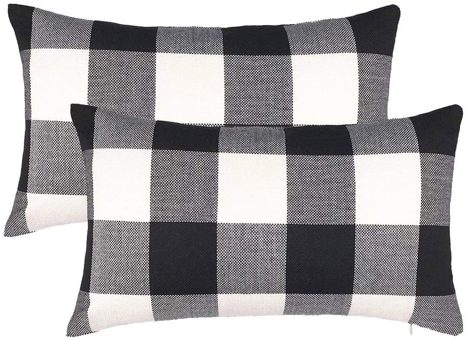 4th Emotion Set Of 2 Farmhouse Buffalo Check Plaid Throw Pillow Covers Cushion Case Cotton Linen For Fall Home Decor Black And White 12 X 20 Inches Home Kitchen Amazon Com