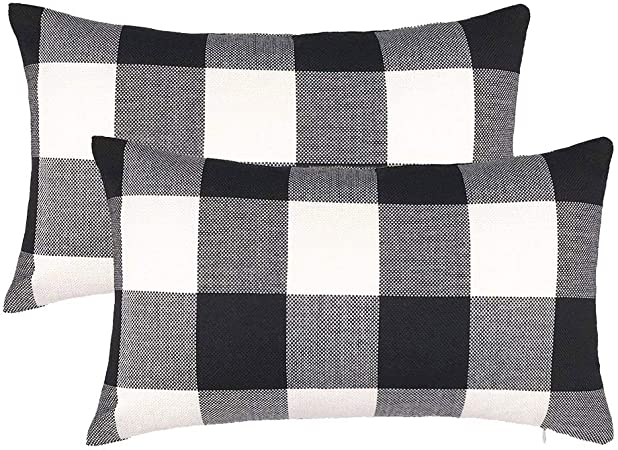 Cotton Linen Plaid Cushion Cover White Black Checked Throw Pillow Covers Home