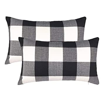Fine 4Th Emotion Set Of 2 Farmhouse Buffalo Check Plaid Throw Pillow Covers Cushion Case Cotton Linen For Fall Home Decor Black And White 12 X 20 Inches Dailytribune Chair Design For Home Dailytribuneorg