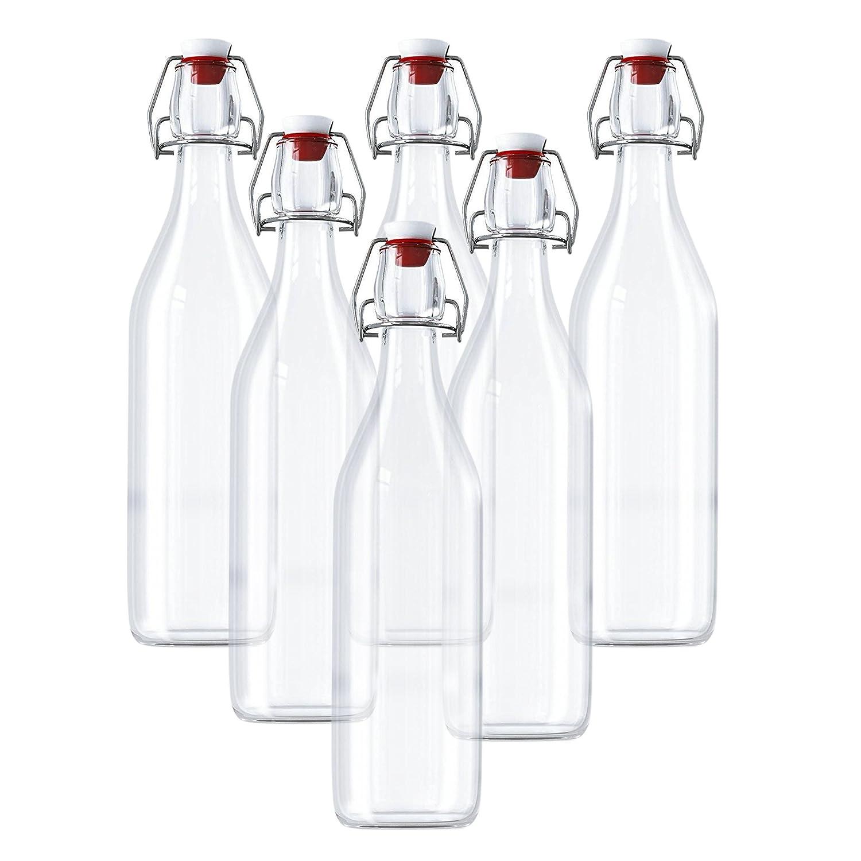 Condiments et Plus Bouteille Verre Transparent pour Jus Frais Bouteille en Verre avec Couvercle 960 ml Lot de 6 Vins Bouteilles en Verre avec Bouchon /à Etrier