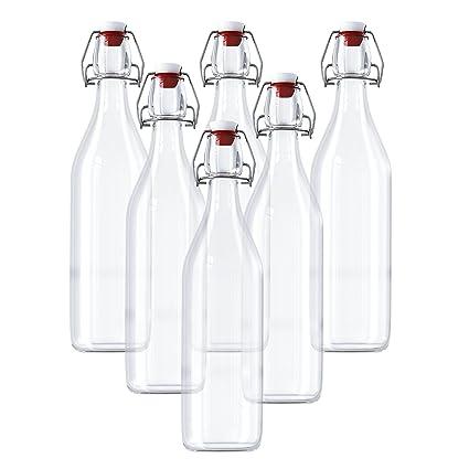 Botellas de Vidrio Herméticas Con Tapón - 6 Pack (960ml) Preservar Líquidos Botellas - Transparentes Botellas para Bebidas Hechas en Casa, Cerveza, ...