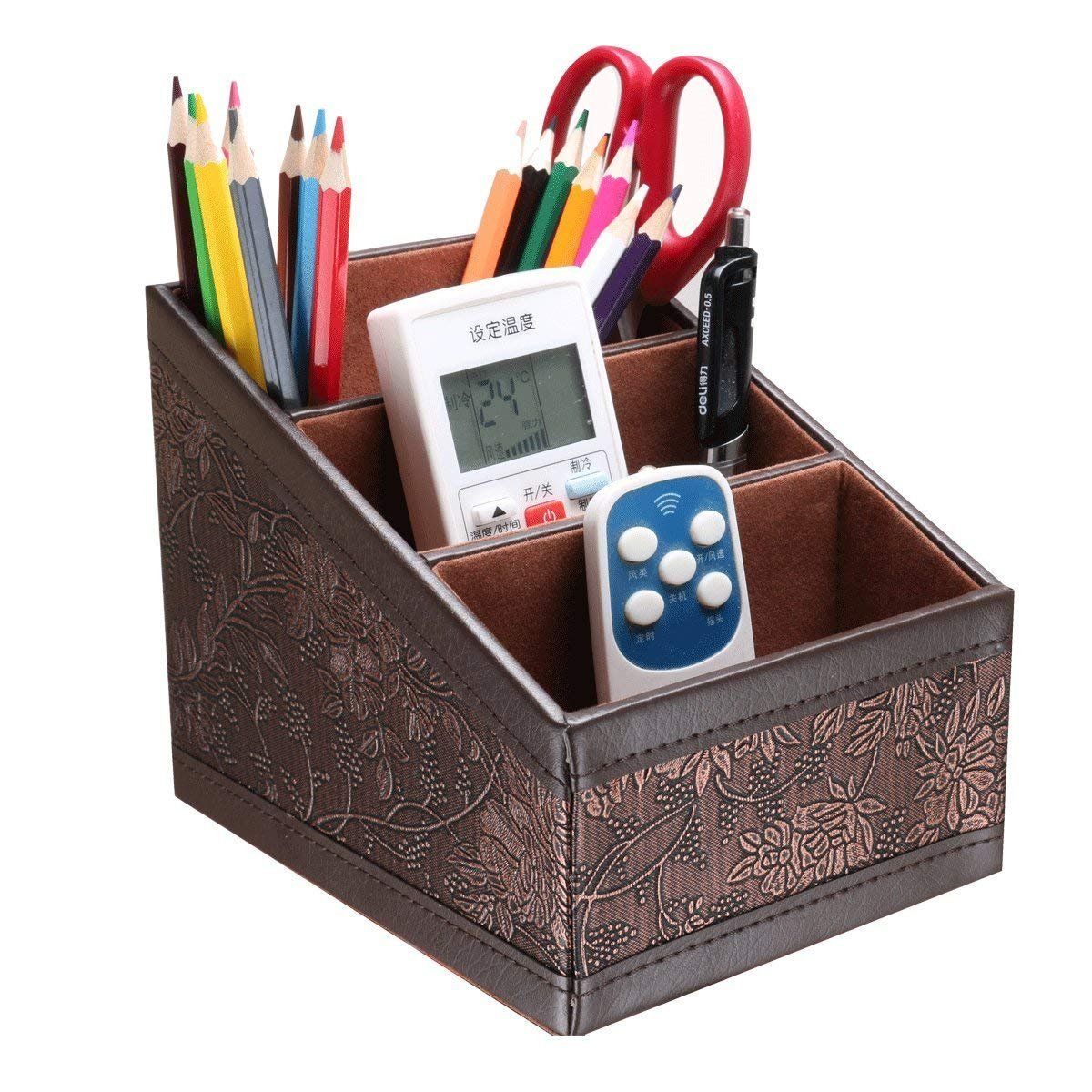 Multifunctional PU Leather Desktop Storage Office Desktop Organizer, Office Organizer, Desktop Caddy Remote Control Holder/Remote Control Caddy(Retro Flower)