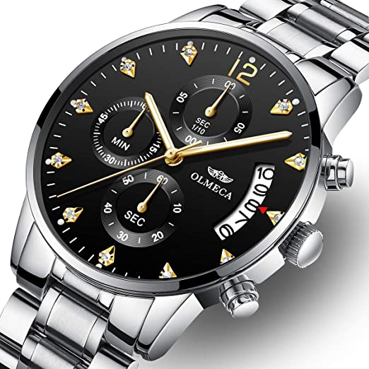 OLMECA Mens Watches Luxury Waterproof Fashion Quartz Women Watches Chronograph Stainless Steel Band Wristwatches for Men