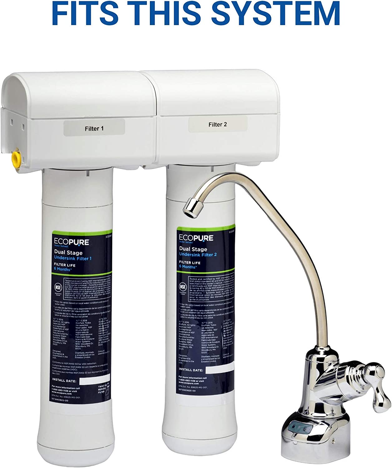 ECODWF Fits ECOP20 System | NSF Certified 6-Month Filter Life EcoPure Dual Stage Under Sink Replacement Water Set