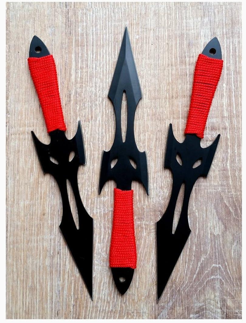 3er Set mit Nylontasche Wurfmesser Black Fighter Edelstahl ohne Wicklung Perfect Point Kunai