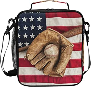 JOYPRINT Lunch Box Bag Vintage Ball Baseball American Flag Lunchbox Insulated Thermal Cooler Ice Adjustable Shoulder Strap for Women Men Boys Girls