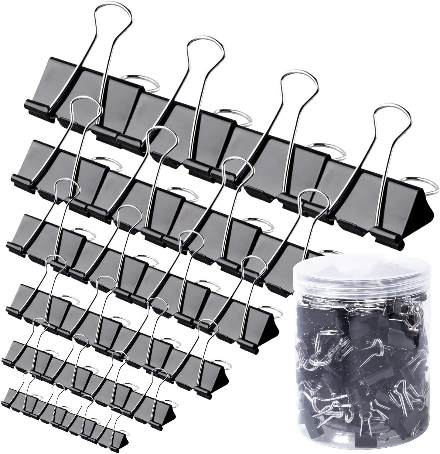120Pcs Binder Clips - Paper Clamps Assorted 6 Sizes, Paper Binder Clips, Metal Fold Back Clips with Box for Office, School and Home Supplies, Black