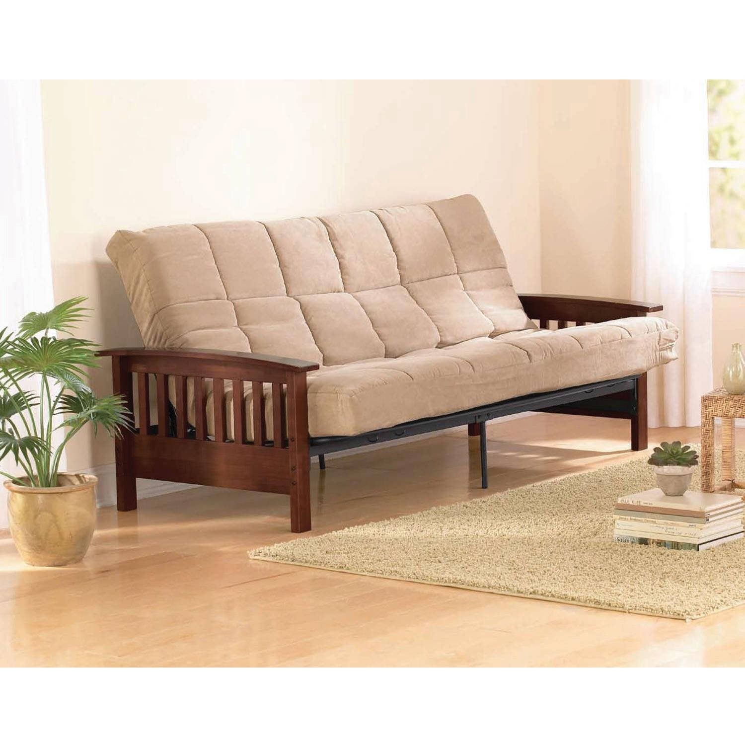 amazoncom better homes and gardens neo mission futon brown solid wood arm futon with walnut finish pet supplies - Futon Sofa Beds