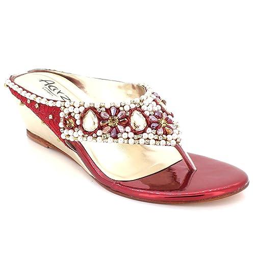 c64f9670 Mujer Señoras Cristal Diamante Noche Boda Fiesta Paseo Nupcial Comodidad  Bajo Cuña Tacón Ponerse Sandalias Zapatos tamaño: Amazon.es: Zapatos y  complementos
