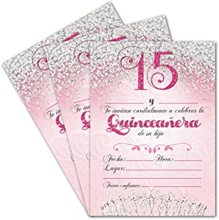 25 Quinceanera Party Invitations 5x7 Double Sided Cards For Girls 15th Birthday includes Envelopes (Spanish
