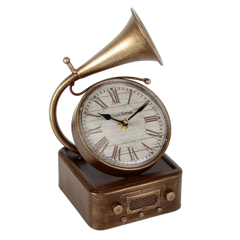 Metal Art Gramófono grande Vintage números romanos reloj de cuarzo ...